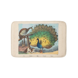 Vintage peacocks and a cat bath mat
