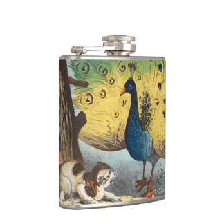 Vintage peacocks and a cat hip flask