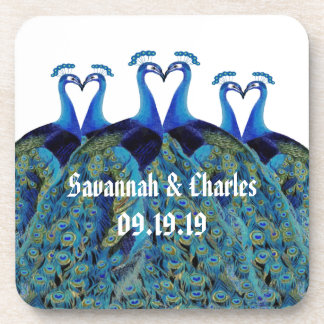 Vintage Peacocks Kissing Wedding Gifts Coaster