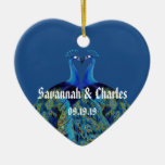Vintage Peacocks Kissing Wedding Gifts Double-Sided Heart Ceramic Christmas Ornament