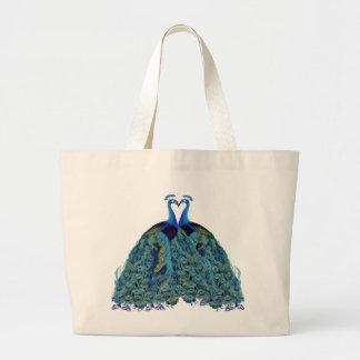 Vintage Peacocks Kissing Wedding Gifts Jumbo Tote Bag