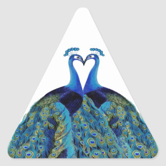 Vintage Peacocks Kissing Wedding Gifts Triangle Sticker