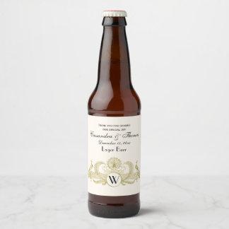 Vintage Peacocks Monogram Faux Gold Ivory BG Beer Bottle Label