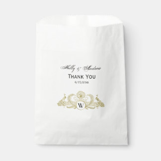 Vintage Peacocks Monogram Faux Gold Ivory BG Favour Bag