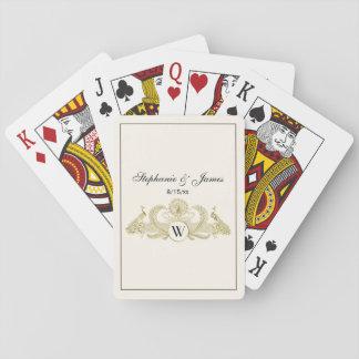 Vintage Peacocks Monogram Faux Gold Ivory BG Playing Cards