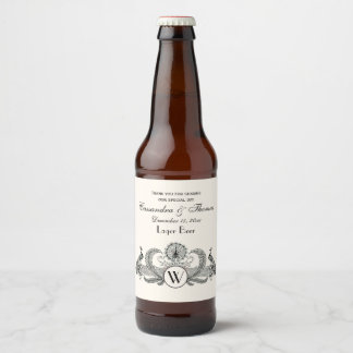Vintage Peacocks Monogram Ivory BG Beer Bottle Label