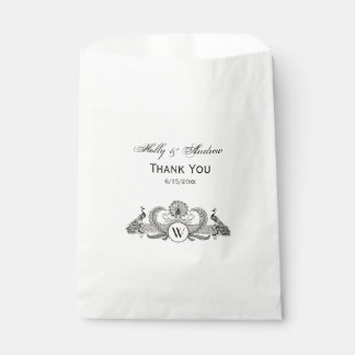 Vintage Peacocks Monogram Ivory BG Favour Bag
