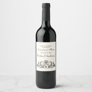 Vintage Peacocks Monogram Ivory BG Wine Label