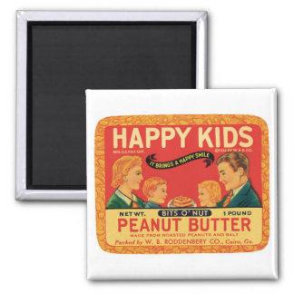 Vintage Peanut Butter Food Product Label Square Magnet