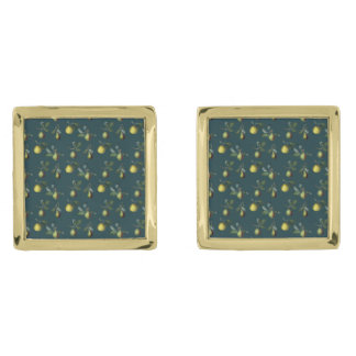 Vintage Pear Illustration Gold Finish Cufflinks