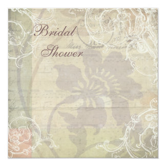 Vintage Pearls & Lace Floral Collage Bridal Shower 13 Cm X 13 Cm Square Invitation Card