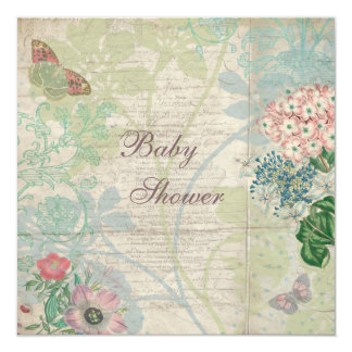 Vintage Pearls & Lace Shabby Chic Baby Shower 13 Cm X 13 Cm Square Invitation Card