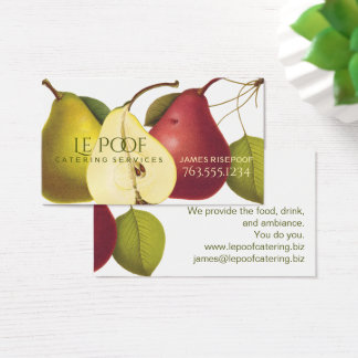 Vintage pears bakery chef catering business cards