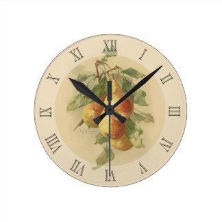 Vintage pears round clock