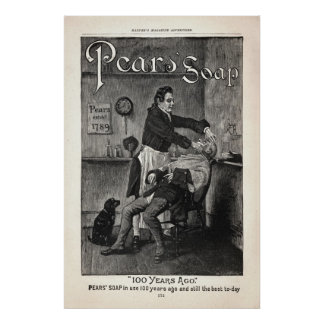 Vintage Pear's Soap Ad from 1888 Poster