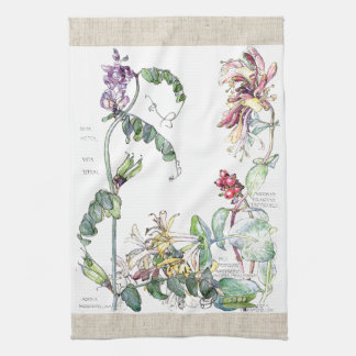 Vintage Peas Honeysuckle Flowers Kitchen Towels