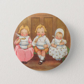 Vintage Pease Porridge Hot Childrens Nursery Rhyme 6 Cm Round Badge
