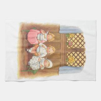 Vintage Pease Porridge Hot Childrens Nursery Rhyme Kitchen Towel