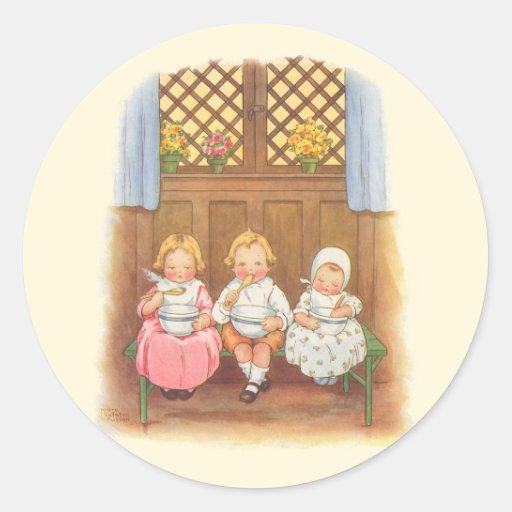 Vintage Pease Porridge Hot Childrens Nursery Rhyme Round Sticker