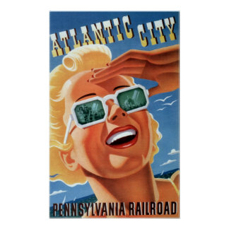 Vintage Pennsylvania Railroad Atlantic City Travel Poster