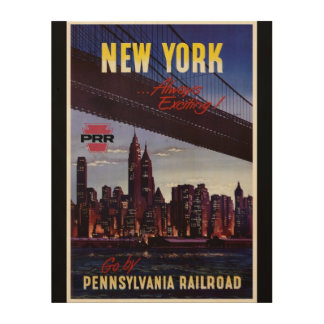 Vintage Pennsylvania Railroad to New York Wood Wall Decor