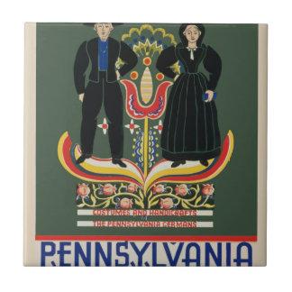 Vintage Pennsylvania Travel Ceramic Tile