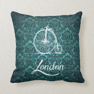 Vintage Penny-Farthing Bicycle in London Throw Pillow