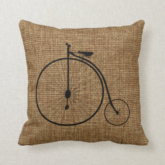 Vintage Penny-Farthing Bicycle On Faux Burlap Cushion