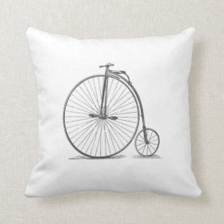 Vintage Penny-Farthing Bicycle Throw Pillow