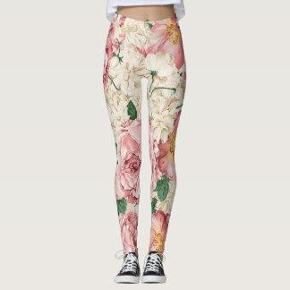 Vintage Peonies and Hydrangeas Pattern Leggings