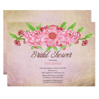 Vintage Peonies Floral Bridal Shower 14 Cm X 19 Cm Invitation Card