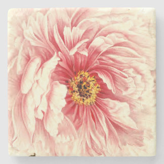 Vintage peony botanical illustration stone coaster