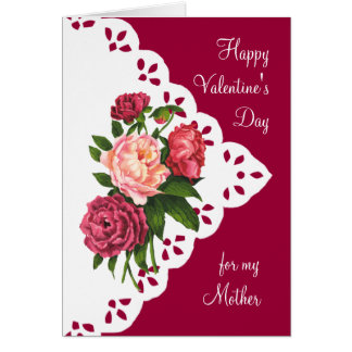 vintage peony flower for mom mother valentine card