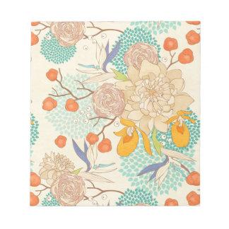 Vintage Peony Flower Pattern Scratch Pad