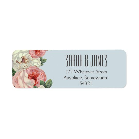 Vintage Peony Wedding Couple Blue Address Label