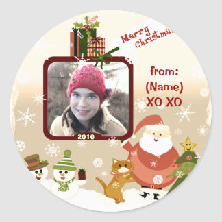 Vintage Personalized Photo Christmas Stickers