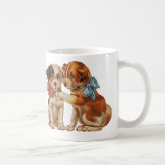 Vintage Pet Animals, Puppy Love Puppies with Bows Coffee Mug