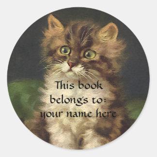 Vintage Pet Animals, Tabby Cat Kitten Bookplate Round Sticker