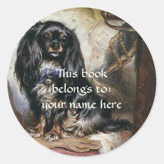 Vintage Pet Animals, Toy Spaniel Dog Bookplate Round Sticker