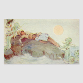 Vintage Peter Pan and Wendy Asleep with Mermaids Rectangular Sticker