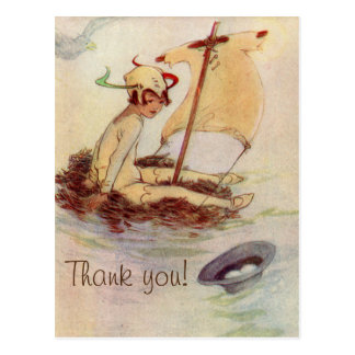 Vintage Peter Pan Baby Shower Thank You Postcard