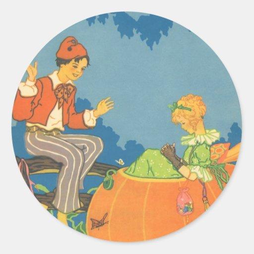 Vintage Peter Peter Pumpkin Eater Nursery Rhyme Round Sticker