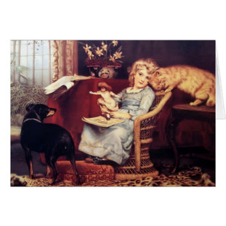 Vintage - Pets are Rivals for Girl's Attention, Card