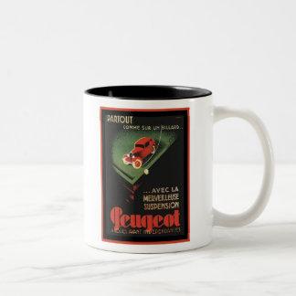 Vintage Peugeot Ad - Partout Comme sur un billard Two-Tone Coffee Mug