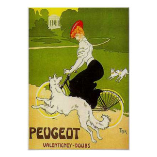 Vintage Peugeot Woman Riding Cycle with Dog Runnin Poster