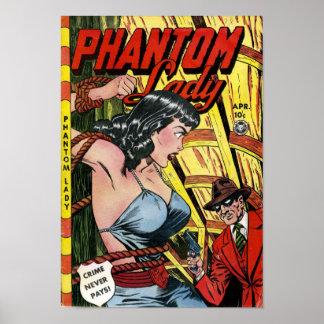 Vintage Phantom Lady Comic Book Poster