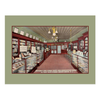 Vintage Pharmacy drugstore interior Bound Brook NJ Postcard