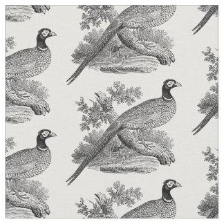 Vintage Pheasant Game Bird Drawing BW Fabric