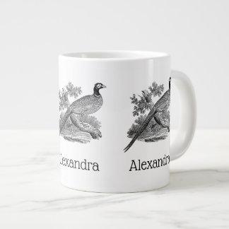Vintage Pheasant Game Bird Drawing BW Large Coffee Mug
