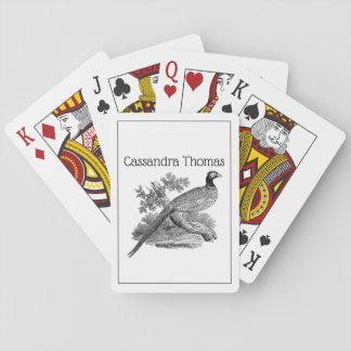 Vintage Pheasant Game Bird Drawing BW Playing Cards
